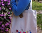 Large Hand-Painted 100% Cotton Canvas Tote Bag / Grocery Bag (CMYK Colors)