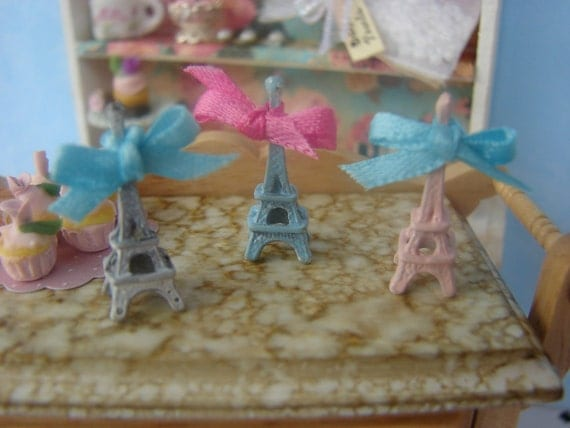 Dollhouse Miniature Eiffel Tower - Your Choice of White, Pink or Blue