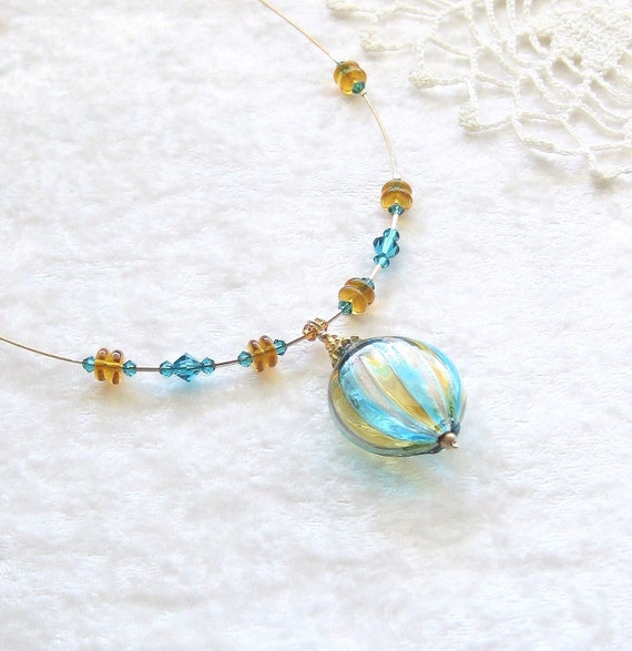 Murano Blown Glass Necklace, Mouthblown Glass, Illusion Necklace