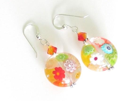 Murano Glass Millefiori Disc Earrings, Venetian Glass Colorful Jewelry, Leverbacks Available