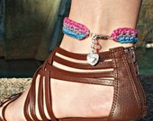 Pink, Purple, and Blue Crochet Striped Anklet - Bisexual Pride