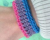 Bisexual Pride Crochet Cuff Bracelet- Pink, Purple, and Blue