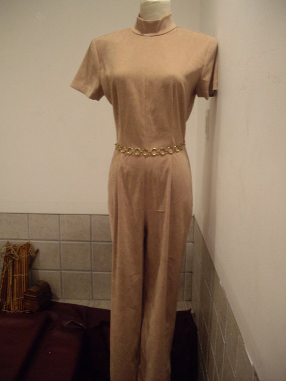 vtge TAN suede poly stretch bombshell STunning jumpsuit marshall rousso  sm