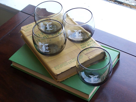 """Vintage Roly Poly Glasses--Set of 4 Letter """"E"""" Embossed Smoky Cocktail Glasses"""