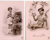 Reserved for  Lauren Vintage French Charming Noyer Postcards Children And Flowers
