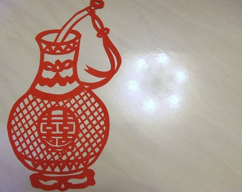 Tranditional Chinese Paper Cut art - Double happiness Vase