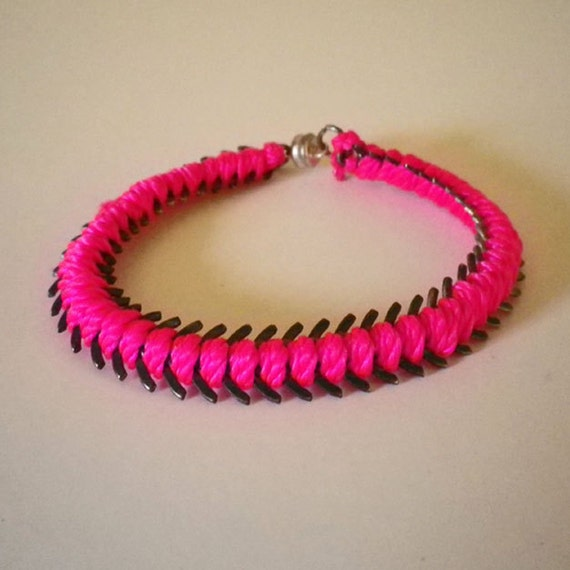 Neon Pink Fish Spine Bracelet