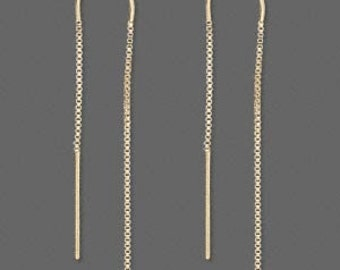 Sterling Silver Long Ear Thread with Double Chain and Ear Rest  (keeps thread in Place) - 1 pair   SALE!