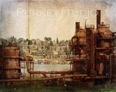Gasworks, Seattle - 8x10 vintage style photo of an abandoned gasworks with textures for home decor