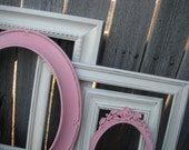 Distressed Vintage PICTURE FRAMES - Heirloom White - Pale Pink - Shabby Chic Nursery - w/ Glass N Backing