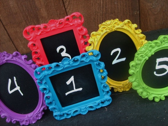 Reserved for Darelle - 12 Vintage Style TABLE NUMBERS - Small Ornate Picture Frames - Gold Frame with Cream Insert