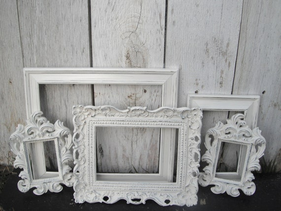 Reserved -Distressed Vintage PICTURE FRAMES - Ornate - Set of Five - Heirloom White - Shabby Chic Wedding - w/ Glass N Backing