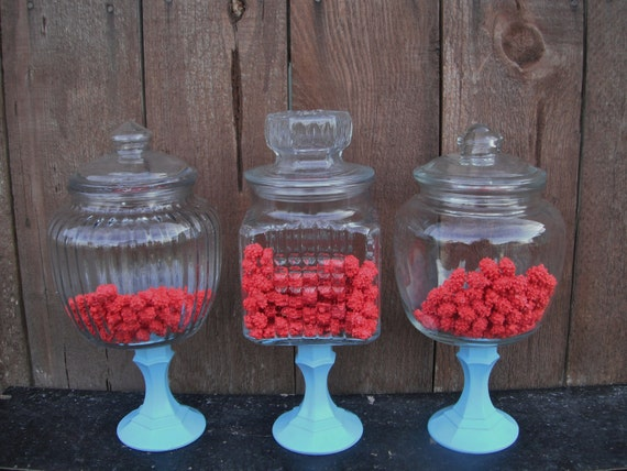 3 PEDESTAL APOTHECARY JARS  - Large Set  - You Choose the Color - candy bar wedding