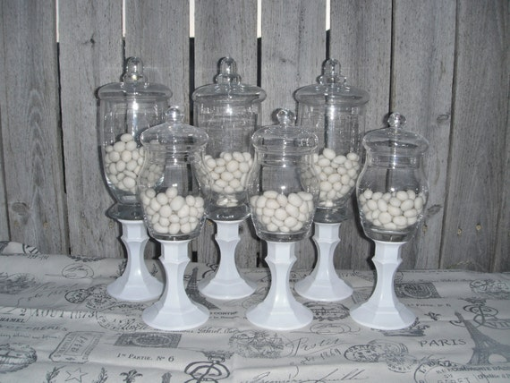 6 PEDESTAL APOTHECARY JARs - Vintage - CaNdy BaR wedding DISPLAY - You Choose the Color - Last One