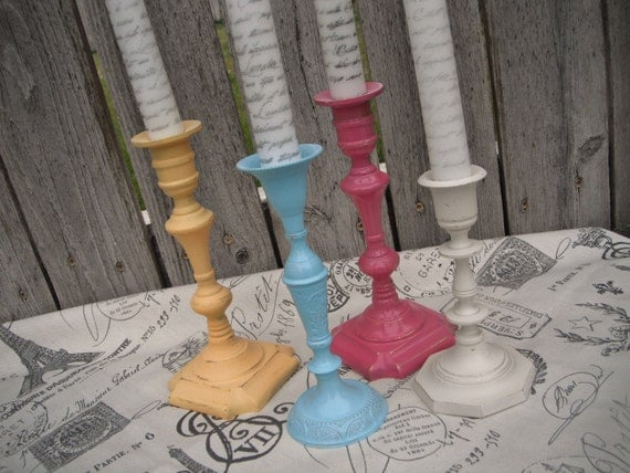 4 vintage CANDLESTICKS in COTToN CANdY SkY shabby chic WEdDING or HoME