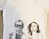 Woody Allen and Scarlett Johansson hand-painted woman t-shirt