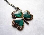 Vintage Style Shamrock Necklace. Lucky Charm. St Patricks Day