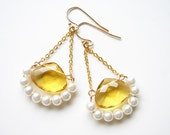Canary Yellow and White. Little Sunshine Earrings. Spring Fashion. Bridesmaid Gift. Simple Modern Jewelry by Smallbluethings
