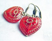 Red Heart Earrings. Czech Red Heart Bead - A Gift under 15 Dollars
