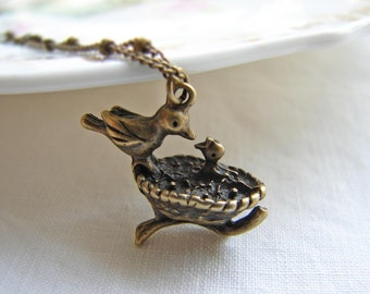 Gift for Mom. New Mom Necklace. Mom and Baby Bird Charm - Mother and Daughter Gift