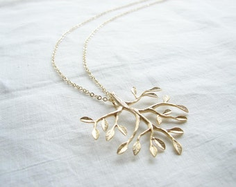 Tree of Life. Matte Gold Plated Tree Necklace