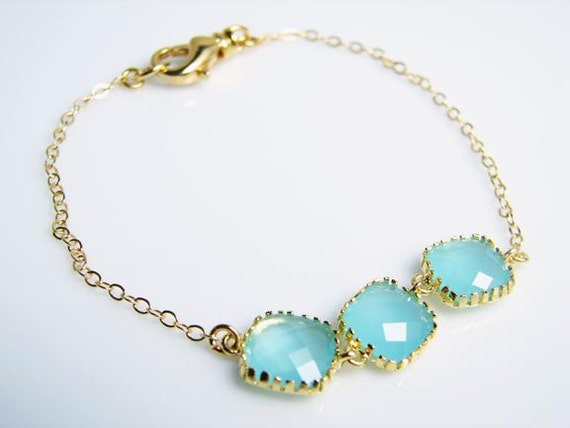 Tiffany Blue Glass Charm Bracelet - 14K Gold Filled Chain - Bridesmaid Gift