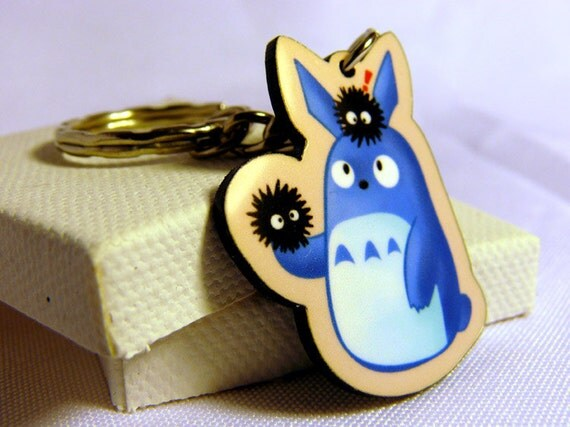 Blue Totoro and Soot Acrylic Charm