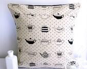 Teapot cushion teapot pillow polka dot pillow retro throw pillow cotton linen retro tea cup beige cushion brown pillow
