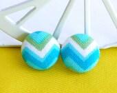 Blue fabric earrings blue earrings chevron earrings zigzag earrings turquoise earrings studs post retro earrings button earrings