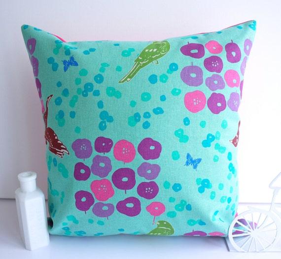 Turquoise pillow pink echino aqua cushion birds flower floral fuchsia throw pillow decorative cushion