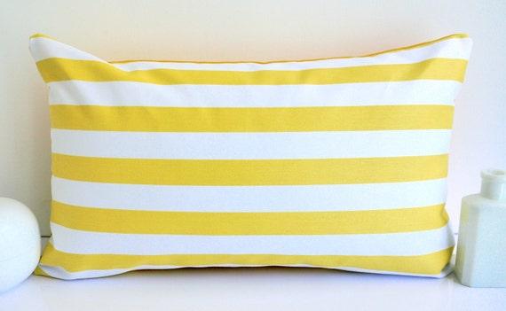 Yellow pillow cushion striped pillow yellow cushion striped cushion nautical cushion throw pillow yellow and white