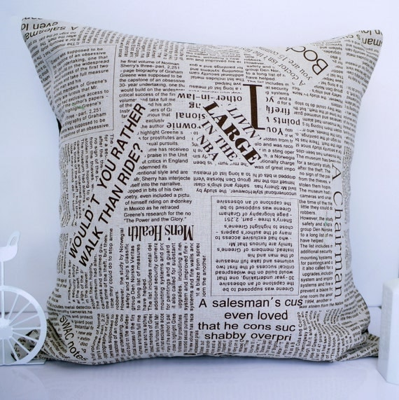 SALE Newspaper pillow cushion newsprint pillow newspaper cushion linen cushion retro pillow throw pillow green pillow accent pillow