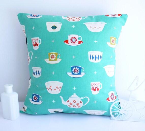 Teacup cushion throw pillow turquoise cushion turquoise pillow teapot retro pillow kokka retro cushion mid century cushion