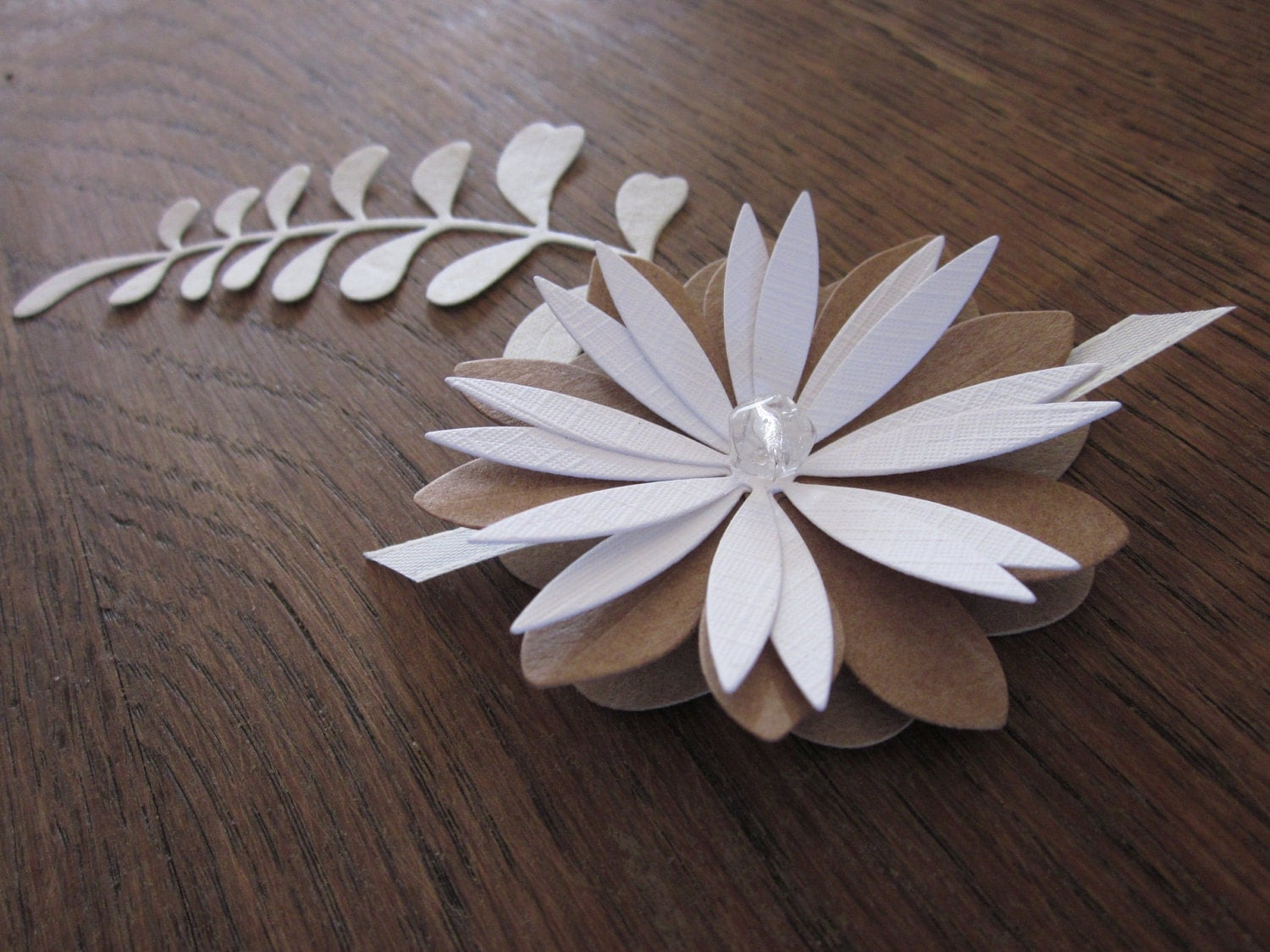 3D flower paper wall art in crème and Kraft paper Awesome