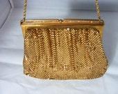 Whiting and Davis golden metal mesh purse