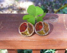 """Vintage """"Stained Glass"""" Earrings"""