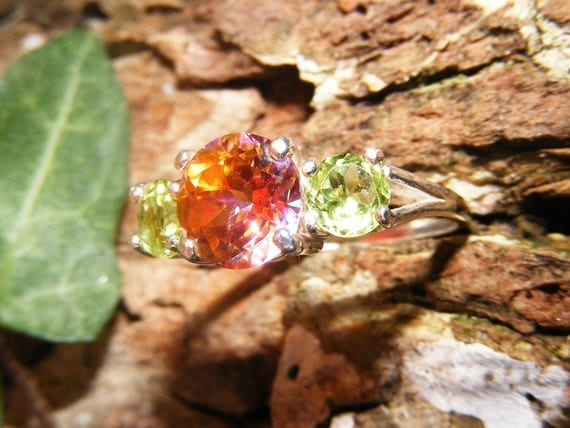 Reserved Azotic Topaz & Peridot Sterling Silver Ring Reserved for Andrea 2nd payment