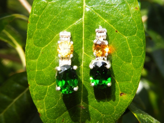 Golden Sphene and Chrome Diopside Drop Earrings