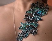 Fabric Flower Necklace, Large, Black, Teal and Silver, Buy 2 Get 1 Free Sale -Harriet
