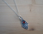 Hamsa Pendant and Chain Sterling Silver with Fire Red Crystal
