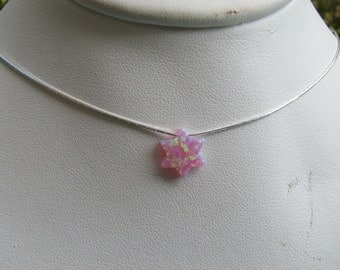 Pink Opal Star of David Necklace Sterling Silver Chain