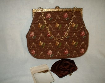 Brown needlepoint purse by Madeline Reamy in 1980s.