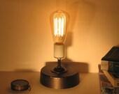 2 Lamps. Pair of concrete base lamps. Industrial, desk, minimalist, urban. Industrial lighting.