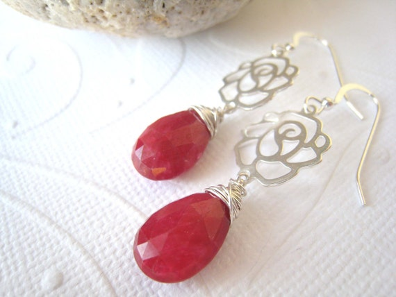 Sterling Silver Roses Earring Sterling Roses Ruby Earrings Dangle July Birthstone Jewelry Valentines Day Gift Ruby Jewelry Rose Jewelry Gift
