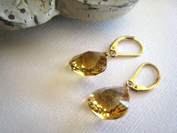 Honey Quartz Earrings, 14kt gold filled