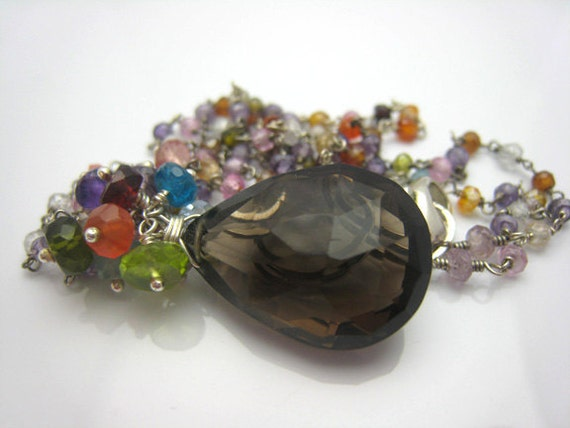 Smoky Quartz Necklace Faceted Gemstone Gift for Her