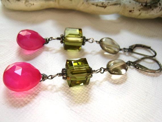 Hot Pink Chalcedony  Swarovski Crystal  Czech Glass Crystal  Oxidized Sterling Silver / Color Pops