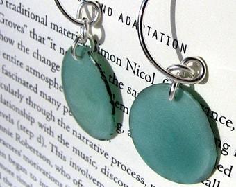 Silver and Tagua Earrings Aqua