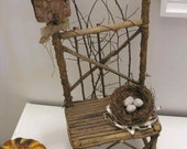 Twig Birdhouse Chair, Woodland Rustic Primitive Bird Nest Felted Eggs Sheet Music