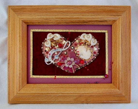 Framed Collage Art with Vintage Jewelry